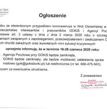 Ogłoszenie: GOKiS i Agencja Pocztowa nieczynne od 18 do 28 czerwca br.